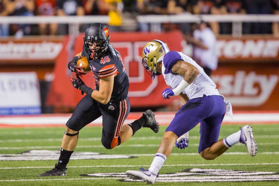 University of Utah sophomore tight end Connor Haller (46) ran after a catch in an NCAA football game vs. Washington at Rice-Eccles Stadium in Salt Lake City, UT on Saturday September 15, 2018.  (Photo by Curtis Lin   Daily Utah Chronicle)