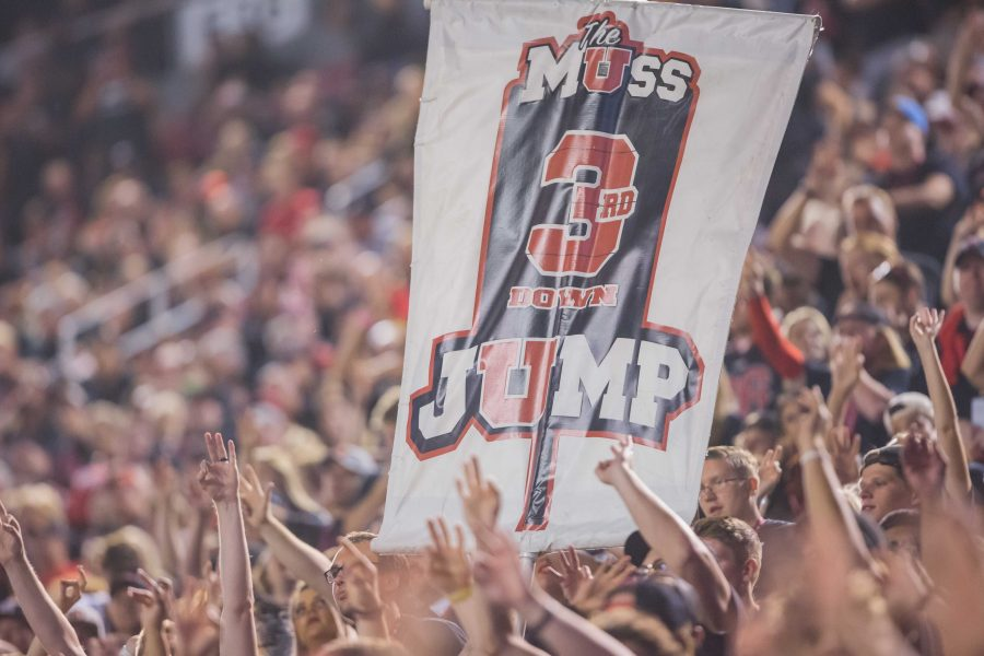 The University of Utah's MUSS's 3rd Down Jump sign in an NCAA football game vs. Washington at Rice-Eccles Stadium in Salt Lake City, UT on Saturday September 15, 2018.  (Photo by Curtis Lin | Daily Utah Chronicle)