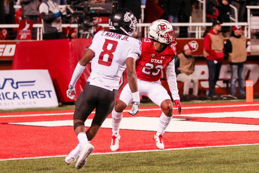 University of Utah sophomore defensive back Julian Blackmon (23) chased down a Washington State player in an NCAA Football game vs. The Washington State Cougars in Rice-Eccles Stadium in  Salt Lake City, UT on Saturday,Nov. 11, 2017.  (Photo by Curtis Lin/ Daily Utah Chronicle)