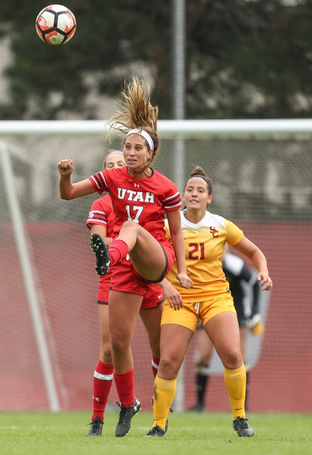 Haylee Cacciacarne (17) heads the ball during the Utah Utes Womens soccer tie game versus University of Southern California at Ute Soccer Field in Salt Lake City, UT on Saturday, September 23, 2017.  (Photo by Cassandra Palor/ Daily Utah Chronicle)