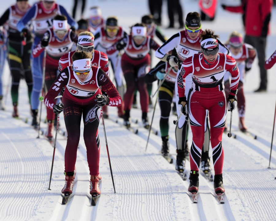 University of Utah ski team hosts the Utah Invite where various teams compete in Nordic ski racing at Soldier Hollow, in Heber Utah on Sunday and Monday, January 10-11, 2015
