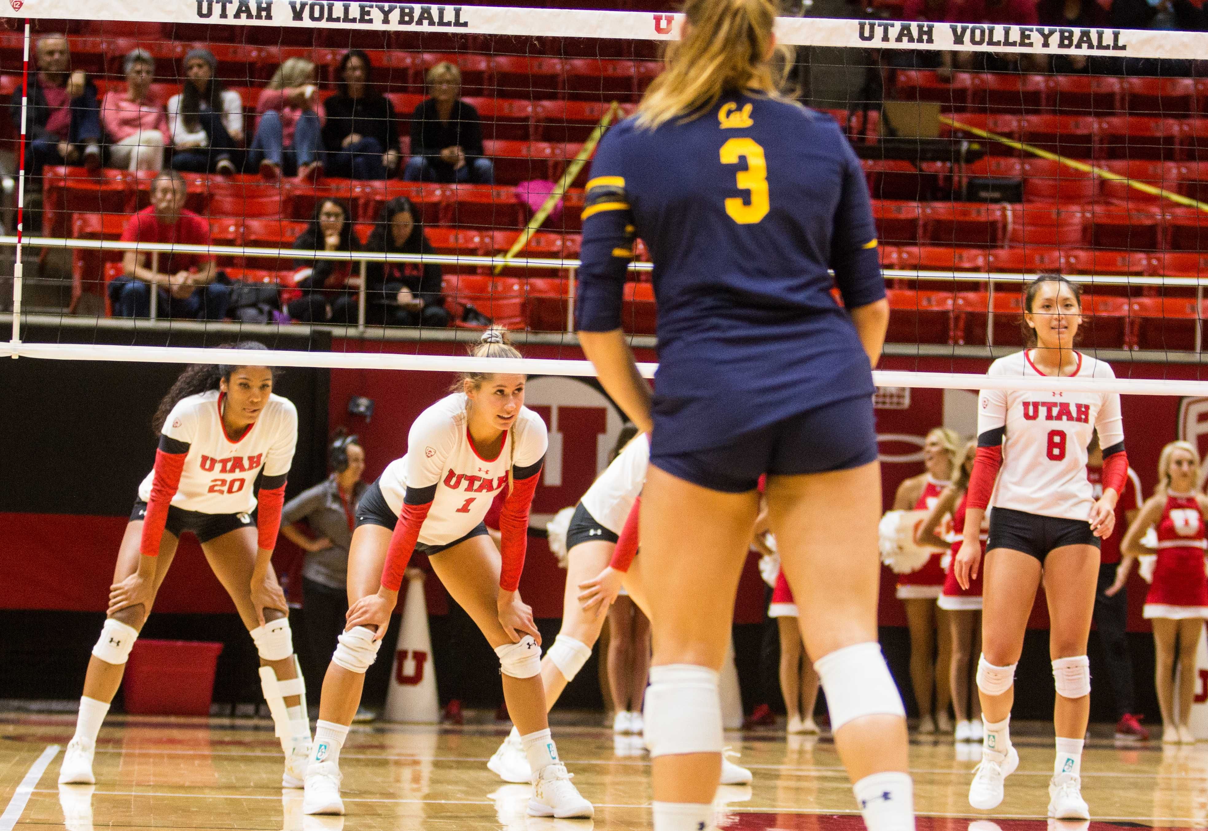 University of Utah  Volleyball girls take on California Golden Bears for the win 3-0 . University of Utah takes the win in Salt Lake City, UT on Sunday,Sept.24, 2017  (Photo by Jose Remes/ Daily Utah Chronicle)