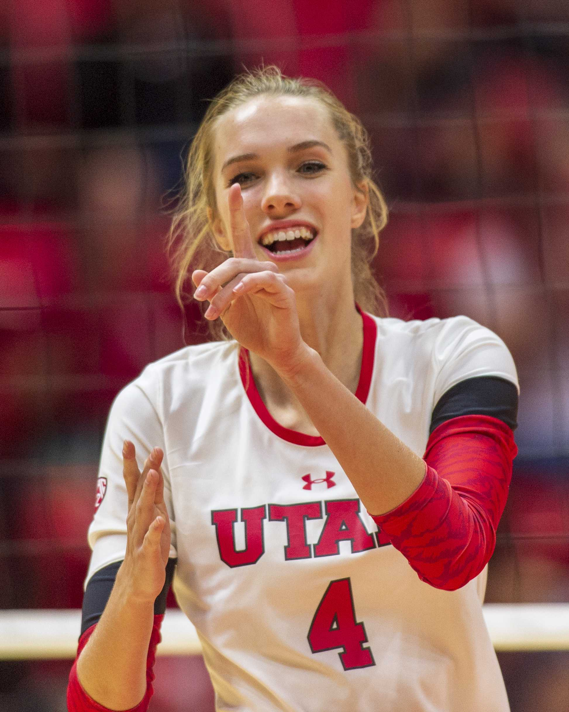University of Utah sophomore outside hitter Kenzie Koerber (4) celebrates after a point in an NCAA Volleyball match vs. UVU at the Jon M. Huntsman Center in Salt Lake City, Utah on Friday, Sept. 14, 2018 (Photo by Kiffer Creveling | The Daily Utah Chronicle)