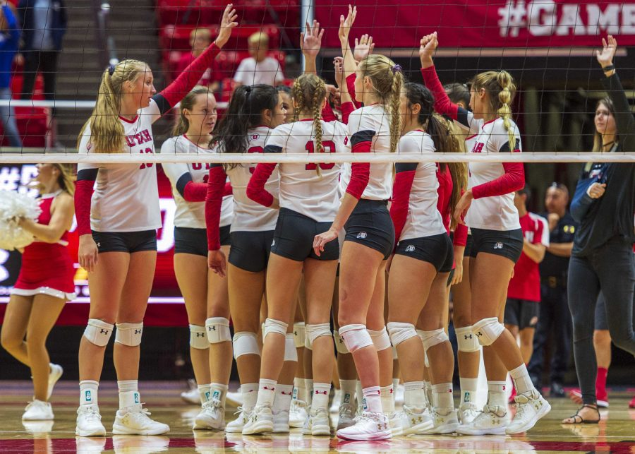 The+University+of+Utah+celebrates+after+their+victory+in+an+NCAA+Volleyball+match+vs.+UVU+at+the+Jon+M.+Huntsman+Center+in+Salt+Lake+City%2C+Utah+on+Friday%2C+Sept.+14%2C+2018+%28Photo+by+Kiffer+Creveling+%7C+The+Daily+Utah+Chronicle%29