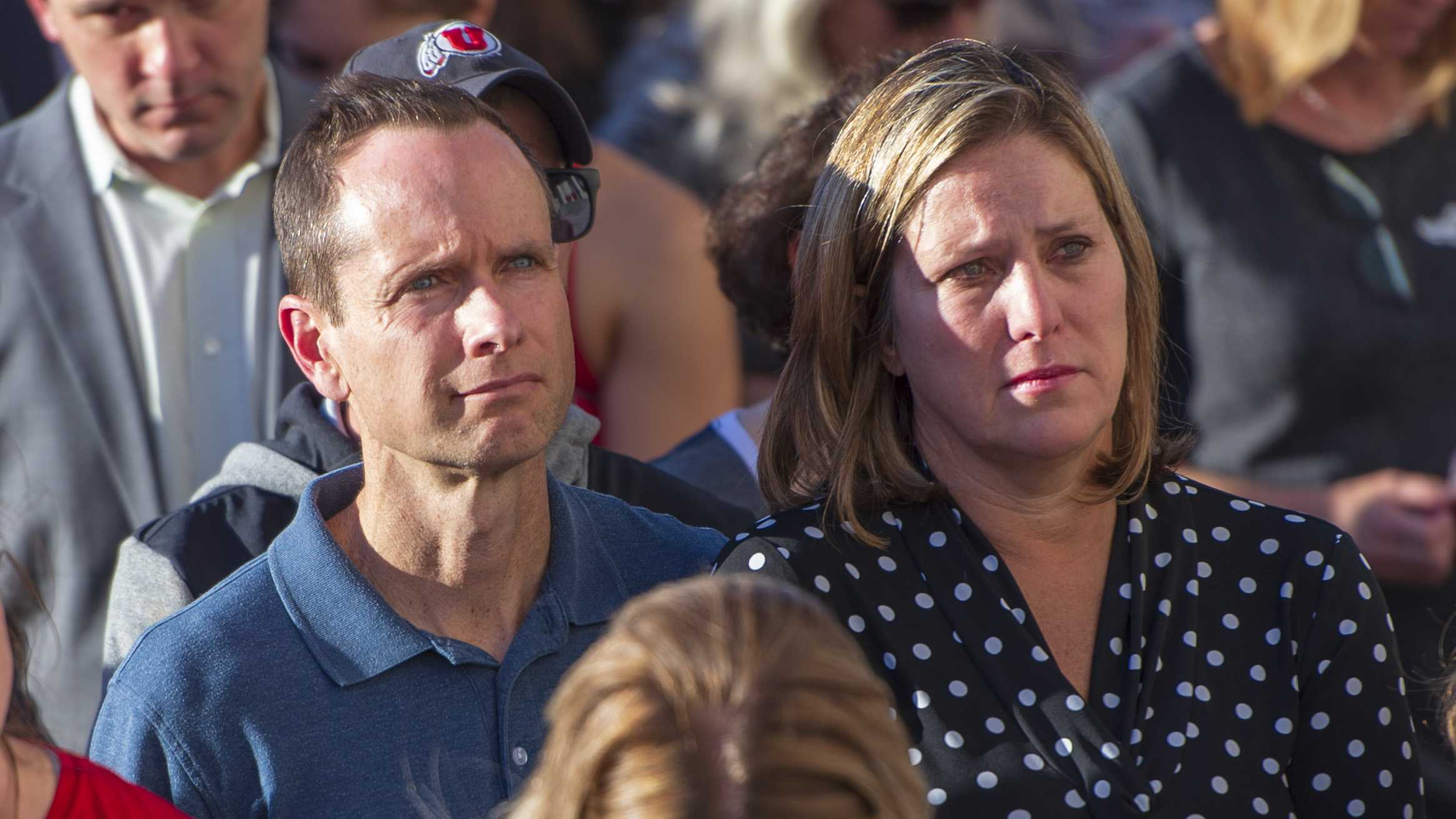 Lauren's parents, Jill and Matthew McCluskey, students, staff, family and friends attend a vigil on the steps of the Park Building for Lauren McCluskey who was tragically killed on campus at The University of Utah in Salt Lake City, Utah on Wednesday, Oct. 24, 2018. (Photo by Kiffer Creveling | The Daily Utah Chronicle)