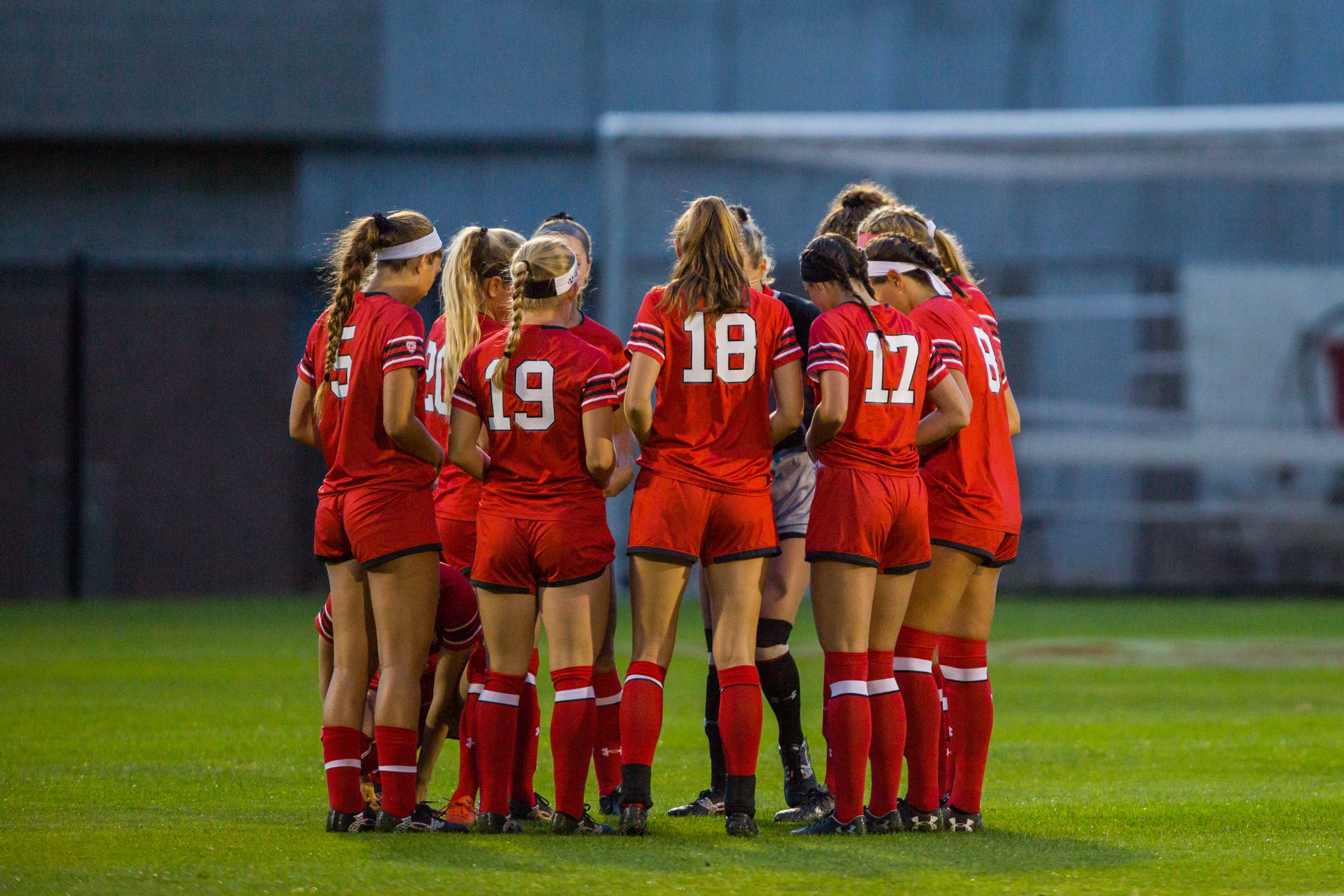 The University of Utah Women's Soccer team huddle up prior to the start in an NCAA Women's Soccer game vs. Washington at Ute Soccer Field in Salt Lake City, UT on Thursday October 04, 2018.  (Photo by Curtis Lin | Daily Utah Chronicle)