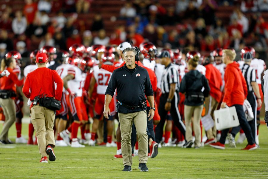 University of Utah football head coach Kyle Whittingham looks on during an NCAA Football game vs. Stanford Cardinal at Stanford Stadium in Palo Alto, CA on Saturday, Oct. 6, 2018.  (Photo by Curtis Lin   Daily Utah Chronicle)