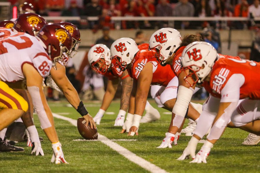 The University of Utahs Football teams defense lines up at the line of scrimmage during an NCAA Football game vs. USC Trojans at Rice-Eccles Stadium in Salt Lake City, UT on Saturday, Oct. 20, 2018.  (Photo by Curtis Lin   Daily Utah Chronicle)