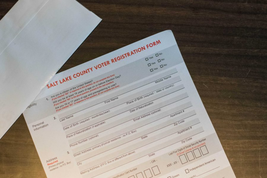 An official voter registration form for the Midterm Elections 2018 at the Salt Lake County Building in Salt Lake City, UT on Tuesday October 23, 2018.  (Photo by Curtis Lin   Daily Utah Chronicle)