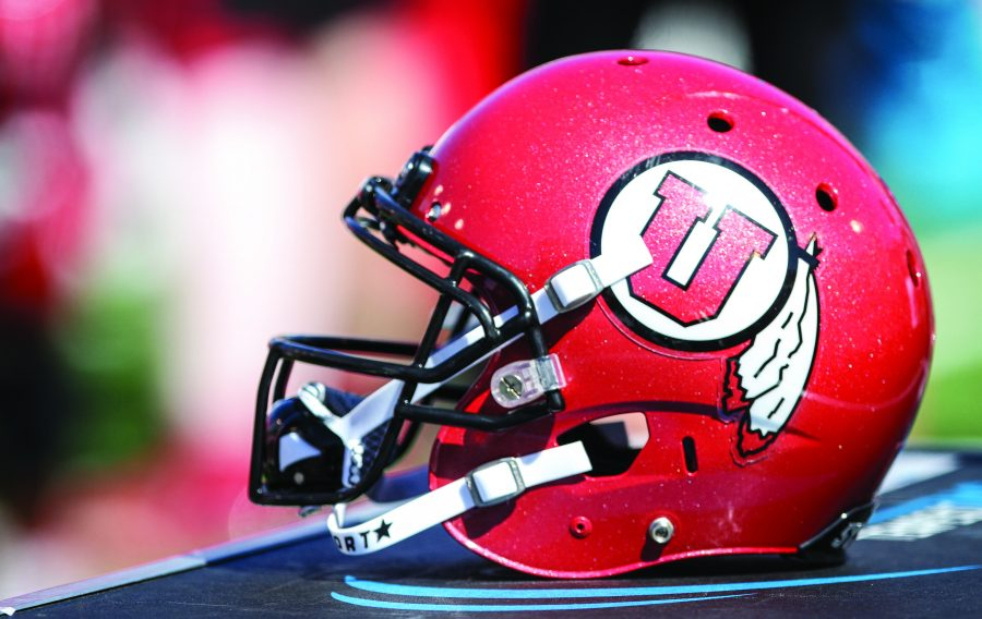 A helmet being worked on at the University of Utahs Red and White football game on Apr. 15, 2017 at Rice Eccles Stadium, Salt Lake City, UTPhoto by Adam Fondren/Daily Utah Chronicle