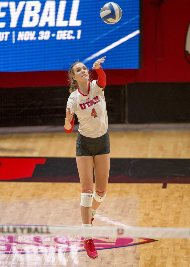 University+of+Utah+freshman+outside+hitter+Kenzie+Koerber+%284%29+serves+the+ball+in+an+NCAA+Volleyball+match+vs.+The+Purdue+Boilermakers+at+the+Jon+M.+Huntsman+Center+in+Salt+Lake+City%2C+Utah+on+Friday%2C+Dec.+1%2C+2017%0A%0A%28Kiffer+Creveling+%7C+The+Daily+Utah+Chronicle%29