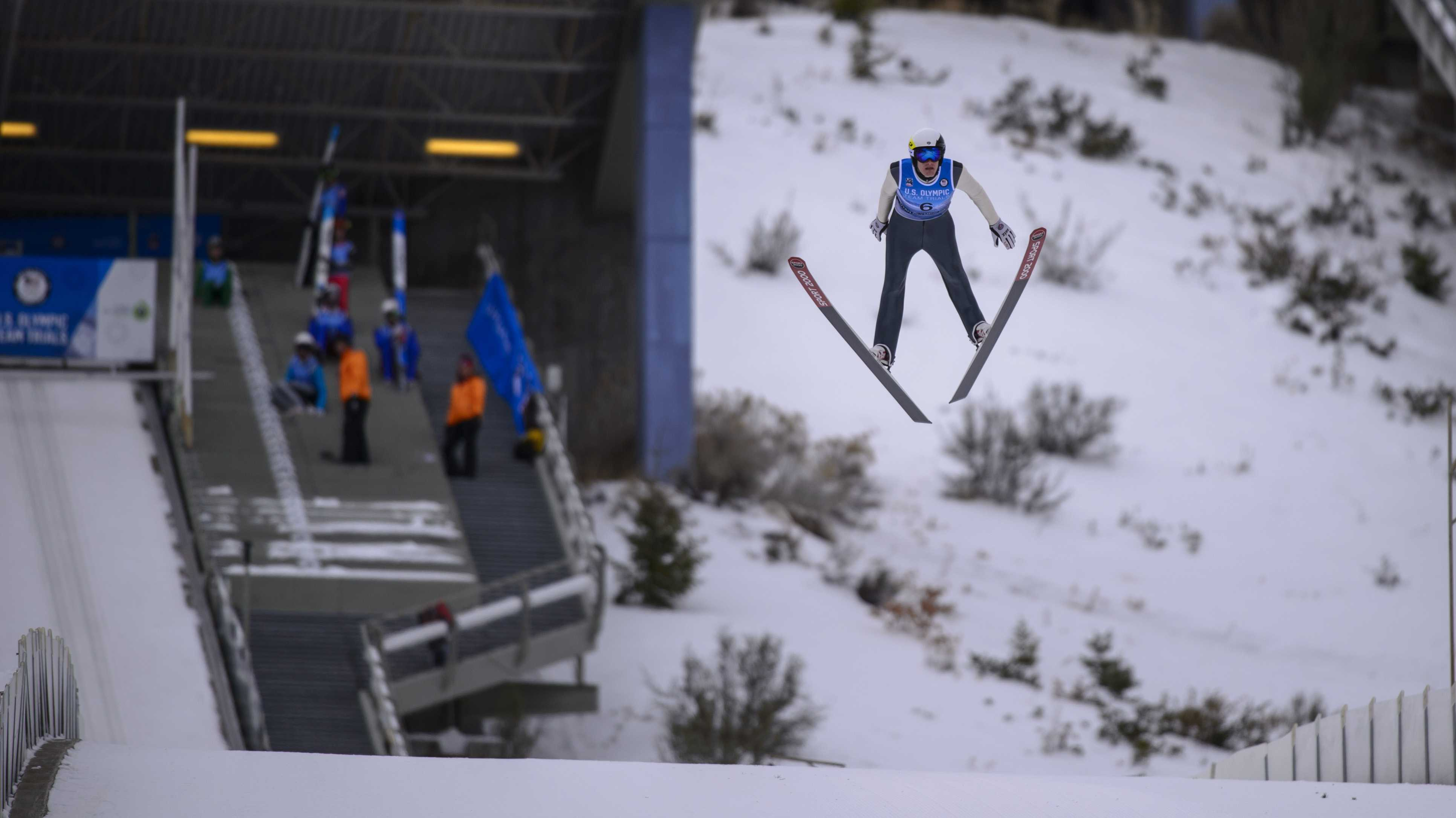 Adam Loomis (6) competes in the U.S. Olympic Team trials for Nordic Combined at the Utah Olympic Park in Park City, Utah on Saturday, Dec. 30, 2017  (Photo by Kiffer Creveling)