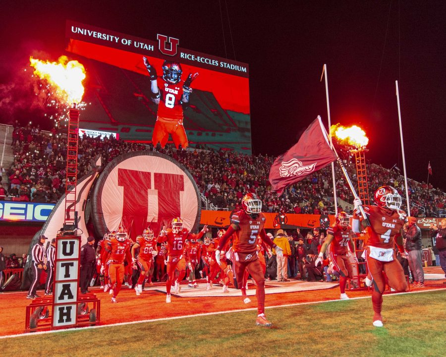 The+University+of+Utah+runs+onto+the+field+during+an+NCAA+Football+game+vs.+the+Brigham+Young+University+Cougars+at+Rice+Eccles+Stadium+in+Salt+Lake+City%2C+Utah+on+Saturday%2C+Nov.+24%2C+2018.+%28Photo+by+Kiffer+Creveling+%7C+The+Daily+Utah+Chronicle%29
