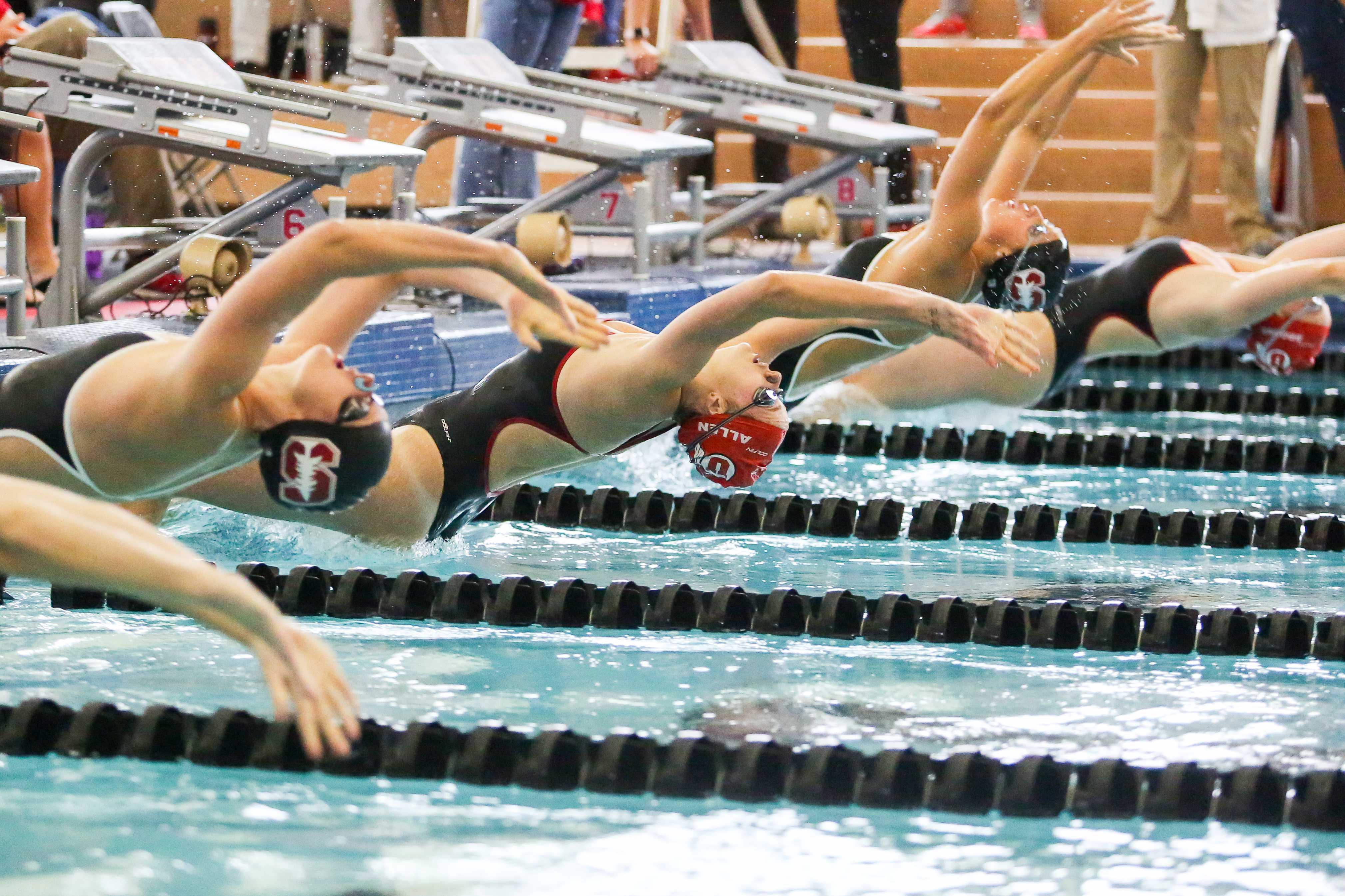 Sophomore Mallory Allen starts out for the Women's 200 Back as the Utah Men and Women's Swim and Dive Team take on the Stanford Cardinals at the Ute Natatorium in Salt Lake City, UT on Friday, Oct. 20, 2017.  (Photo by Curtis Lin/ Daily Utah Chronicle)