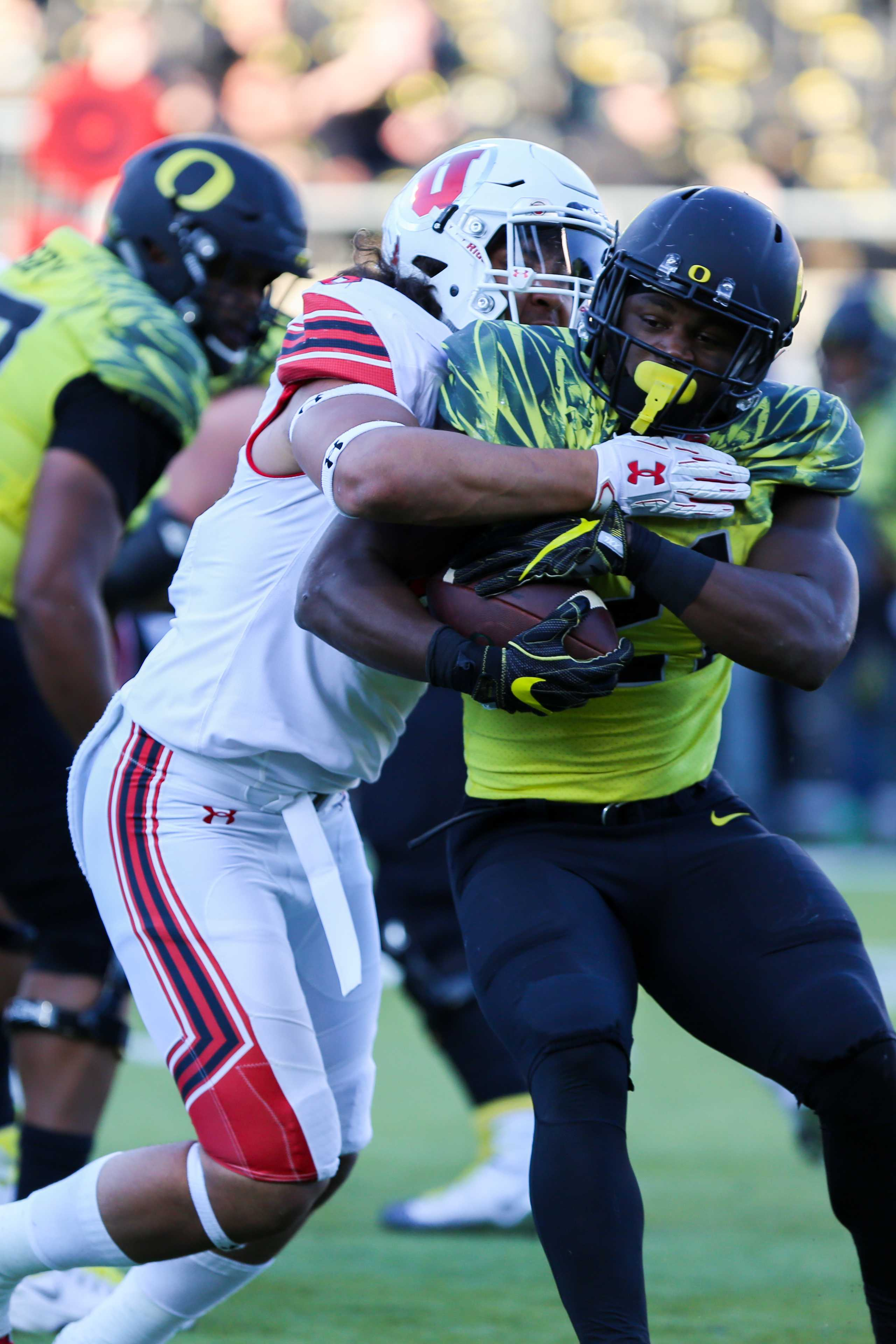 Sophomore defensive end Bradley Anae (6) tackles an Oregon running back as the The Utah Utes Football team take on the Oregon Ducks at Autzen Stadium in Eugene, OR on Saturday, October28, 2017.   (Photo by Curtis Lin/Daily Utah Chronicle)