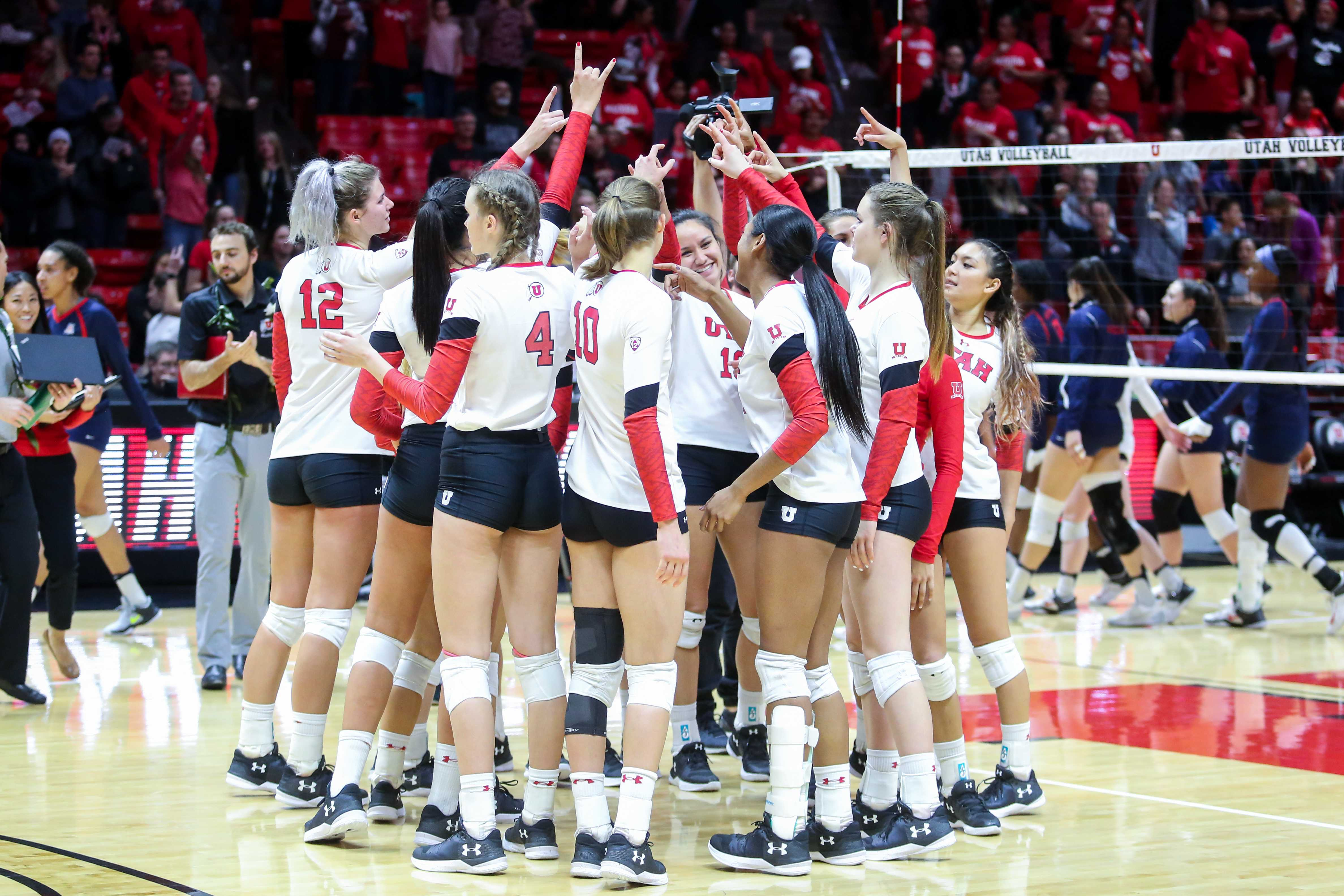 University of Utah Volleyball Team celebrated the win in an NCAA Volleyball game vs. The Arizona Wildcats in Jon M. Huntsman Center in Salt Lake City, UT on Saturday, Nov. 18, 2017.  (Photo by Curtis Lin/ Daily Utah Chronicle)