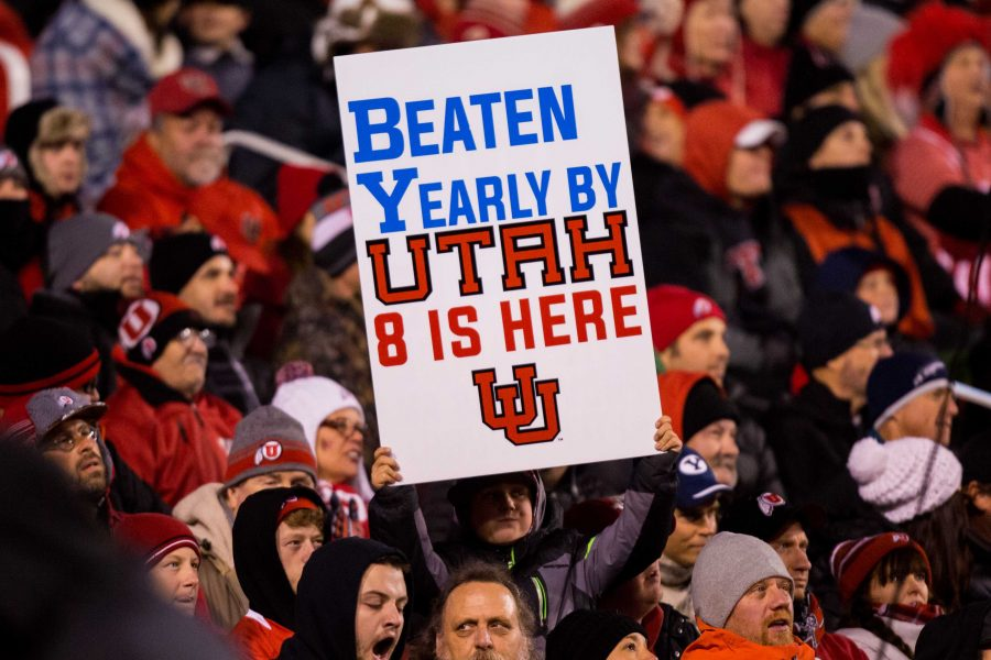 Fan made signs around the stadium in an NCAA Football game vs. BYU at Rice-Eccles Stadium in Salt Lake City, UT on Saturday November 24, 2018.  (Photo by Curtis Lin   Daily Utah Chronicle)