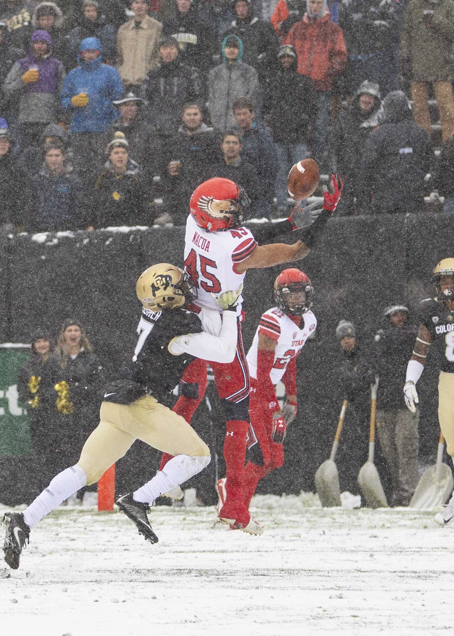 University of Utah sophomore wide receiver Samson Nacua (45) brings down a pass from QB Jason Shelley (15) to put six on the board for the Utes at Folsom Field in Boulder, CO Saturday, Nov. 17, 2018.   (Photo by: Justin Prather | The Utah Chronicle).
