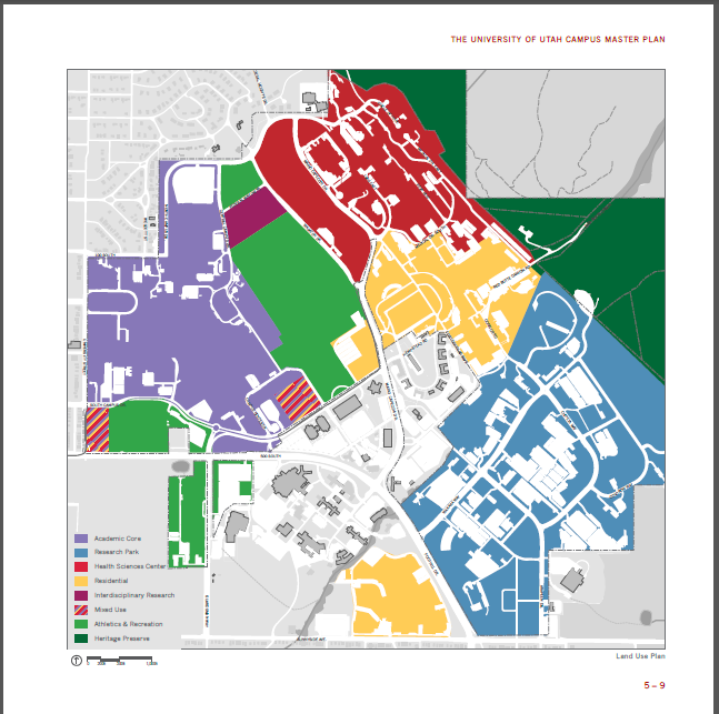 The U's Master Land Use Plan, detailing housing and building plans for the future. Courtesy of HRE.