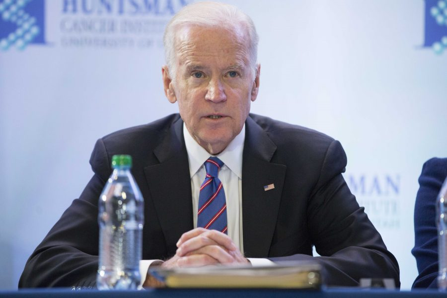 U.S. Vice President Joe Biden (D) participates in a roundtable discussion at the Huntsman Cancer Institute, Friday, Feb. 26, 2016. Vice president Biden visited the hospital to further discuss his initiative to eradicate cancer. (Rishi Deka, Daily Utah Chronicle)