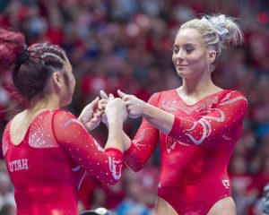 University of Utah women's gymnastics team compete in a duel meet vs. Brigham Young University at the Jon M. Huntsman Center in Salt Lake City, Utah on Friday, Jan. 5, 2018.  (Photo by Kiffer Creveling | The Daily Utah Chronicle)