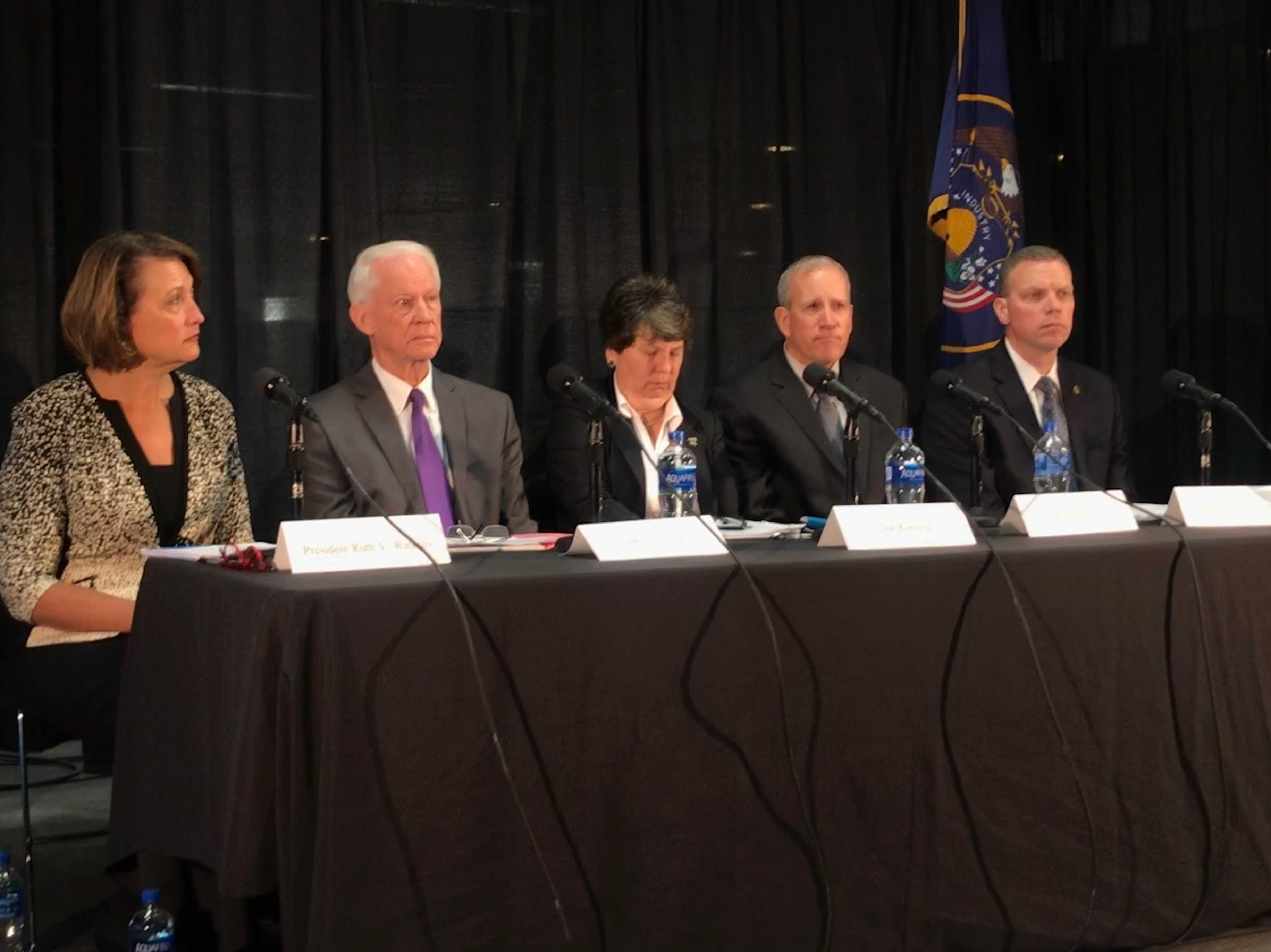 Officials announce the results of two independent investigations into the University of Utah's police department and the State justice system after the on-campus murder of student Lauren McCluskey. Pictured from left to right: President Ruth Watkins, former Public Safety Commissioner John T. Nielsen, Executive Director of the International Association of Campus Law Enforcement Administrators Sue Riseling, former Public Safety Commissioner Keith Squires, and current Public Safety Commissioner Jess L. Anderson. | Photo by Elise Vandersteen Bailey
