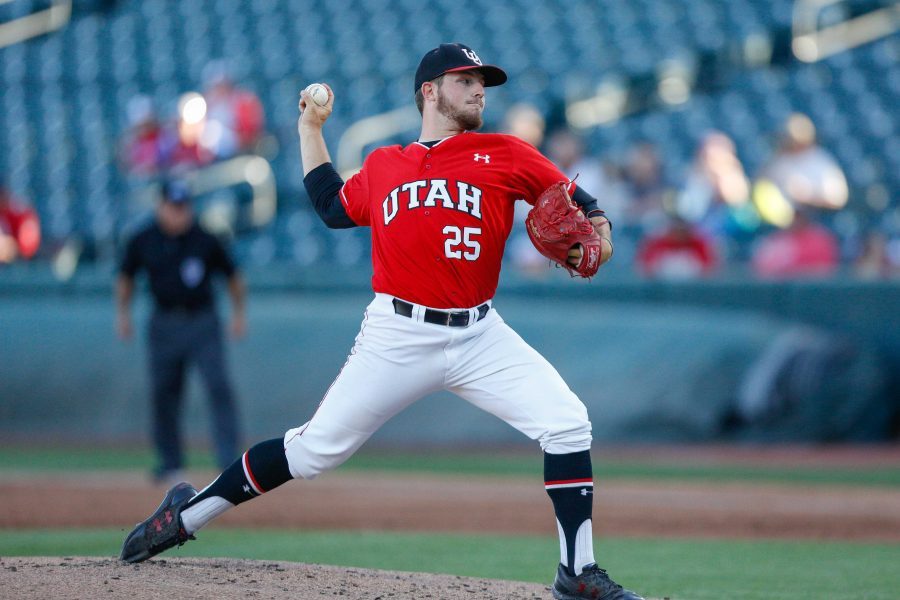 Spencer+Johnson+%2825%29+throws+a+pitch+as+the+Utes+take+on+the+BYU+Cougars+at+Smith%27s+Ballpark+May+8%2C+2018.%0A%0A%28Photo+by%3A+Justin+Prather+%2F+Daily+Utah+Chronicle%29.
