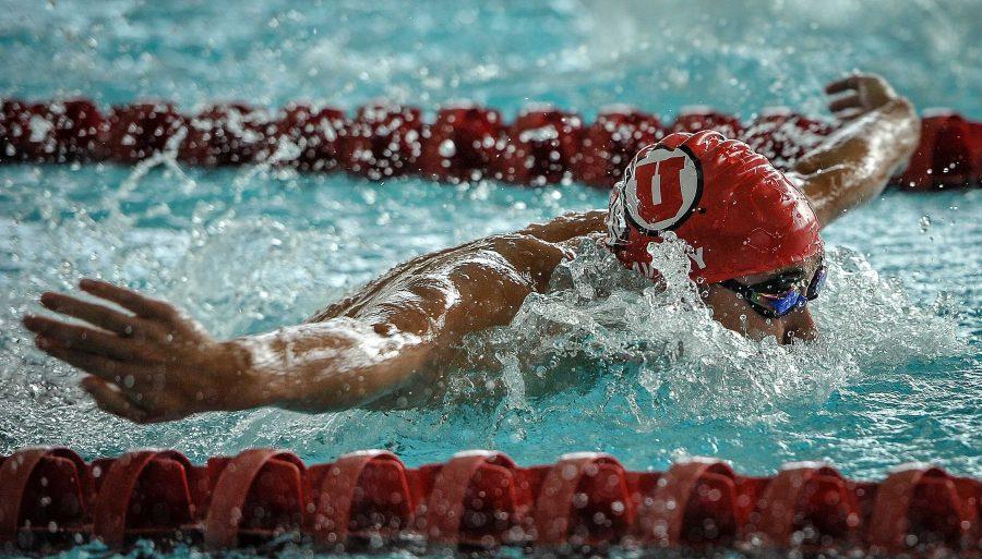 Utahs Cole Avery swims against Brigham Young University at the Natatorium in Salt Lake City, UT on Saturday, Jan. 27, 2018  (Photo by Adam Fondren | Daily Utah Chronicle)