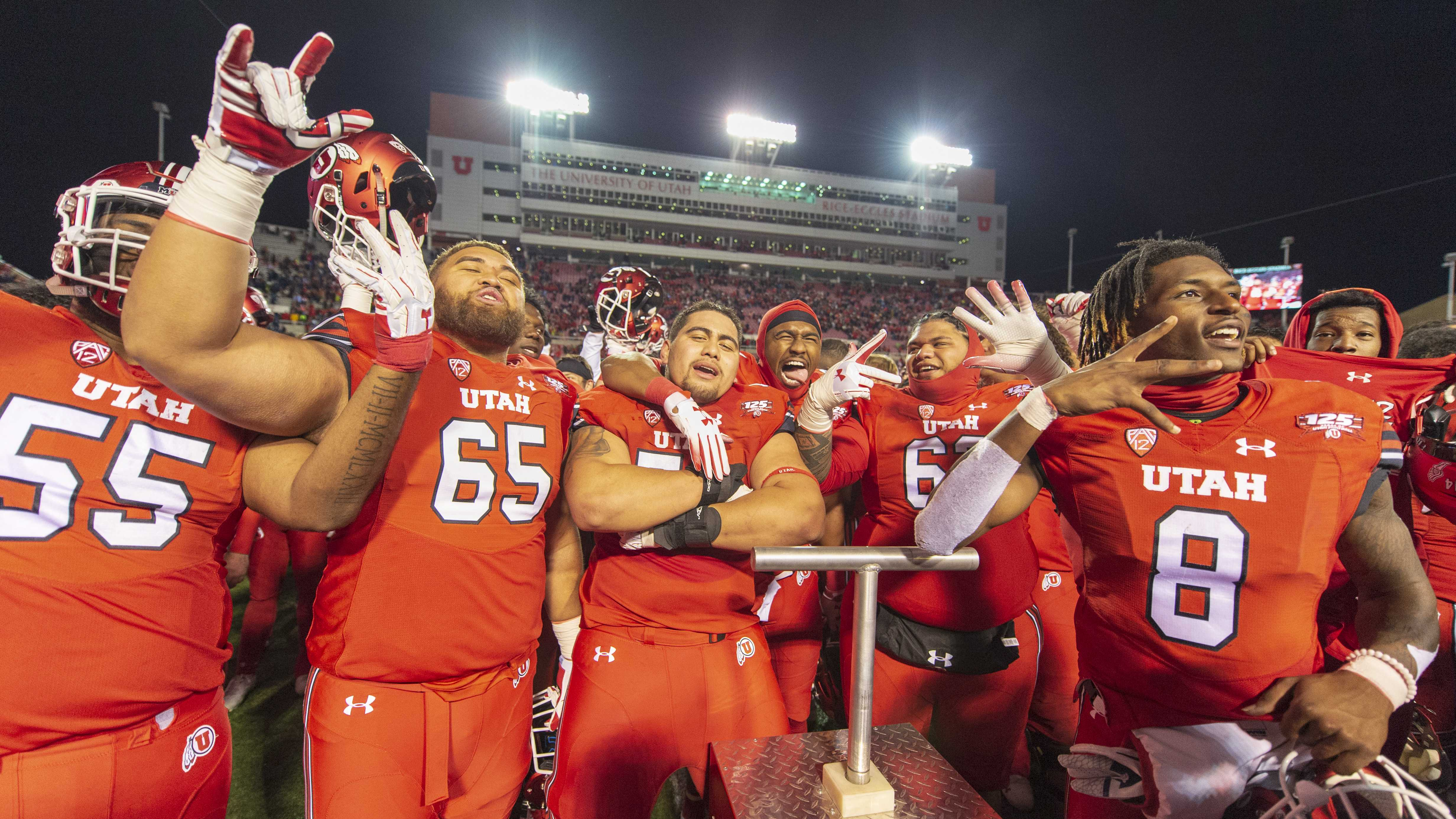 The University of Utah football team sings the Utah fight song following their victory over Brigham Young University in an NCAA Football game at Rice Eccles Stadium in Salt Lake City, Utah on Sunday, Nov. 25, 2018. (Photo by Kiffer Creveling | The Daily Utah Chronicle)