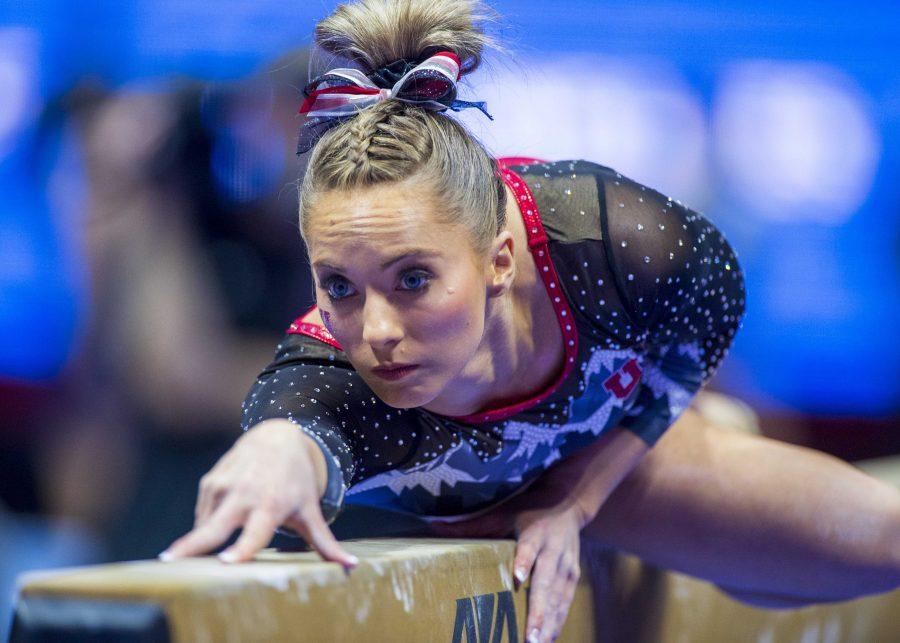 University of Utah womens gymnastics junior MyKayla Skinner performs on the balance beam in a dual meet vs. Penn State at the Jon M. Huntsman Center in Salt Lake City, Utah on Saturday, Jan. 5, 2019.  (Photo by Kiffer Creveling   The Daily Utah Chronicle)