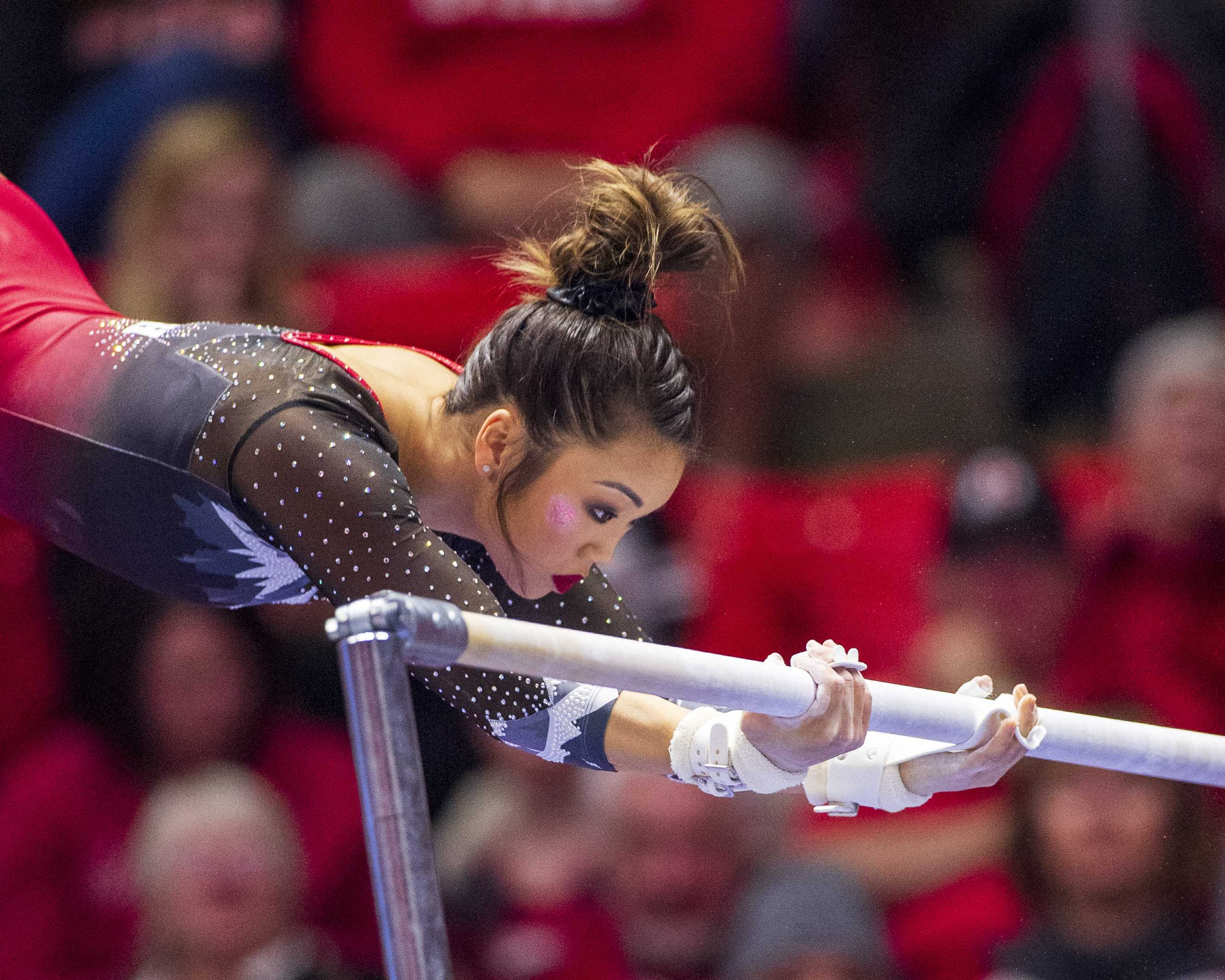 University of Utah women's gymnastics senior Kari Lee performs on the uneven bars in a dual meet vs. Penn State at the Jon M. Huntsman Center in Salt Lake City, Utah on Saturday, Jan. 5, 2019.  (Photo by Kiffer Creveling | The Daily Utah Chronicle)