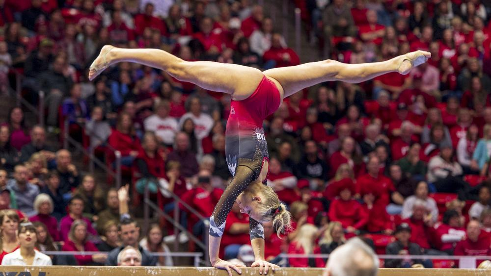 University of Utah women's gymnastics senior MaKenna Merrell-Giles performs on the balance beam in a dual meet vs. Penn State at the Jon M. Huntsman Center in Salt Lake City, Utah on Saturday, Jan. 5, 2019.  (Photo by Kiffer Creveling | The Daily Utah Chronicle)
