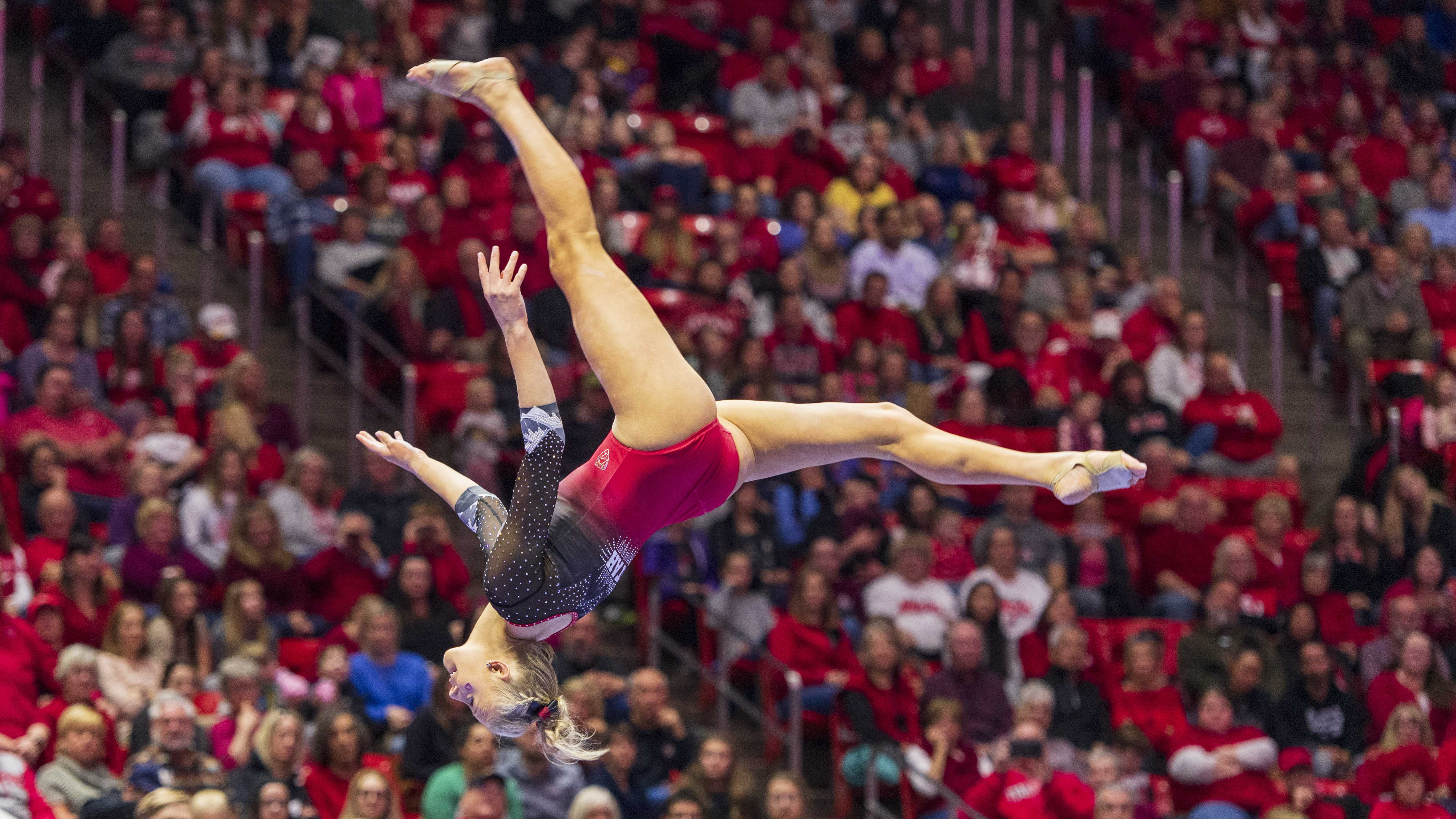 University of Utah women's gymnastics senior MaKenna Merrell-Giles performs on the balance beam in a dual meet vs. Penn State at the Jon M. Huntsman Center in Salt Lake City, Utah on Saturday, Jan. 5, 2019.  (Photo by Kiffer Creveling | The Daily Utah Chronicle)