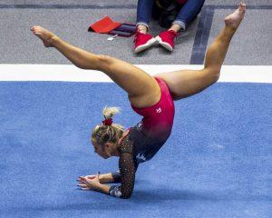 University of Utah women's gymnastics sophomore Sydney Soloski performs on the floor in a dual meet vs. Penn State at the Jon M. Huntsman Center in Salt Lake City, Utah on Saturday, Jan. 5, 2019.  (Photo by Kiffer Creveling | The Daily Utah Chronicle)