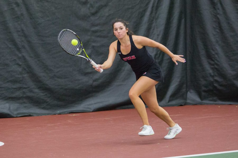 University of Utah sophomore (now junior) Whitney Hekking returned the ball with a forehand as the University of Utah Women's Tennis team take on University of Denver in Salt Lake City, UT on Saturday, February 17, 2018.  (Photo by Curtis Lin/ Daily Utah Chronicle)