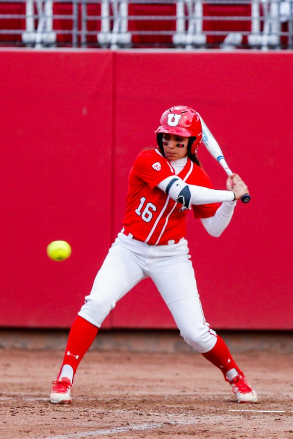 University of Utah sophomore outfielder Alyssa Barrera (16) looks to bat during an NCAA Softball game vs the BYU Cougars at Dumke Family Softball Stadium in Salt Lake City, UT on Wednesday April 18, 2018.  (Photo by Curtis Lin | Daily Utah Chronicle)