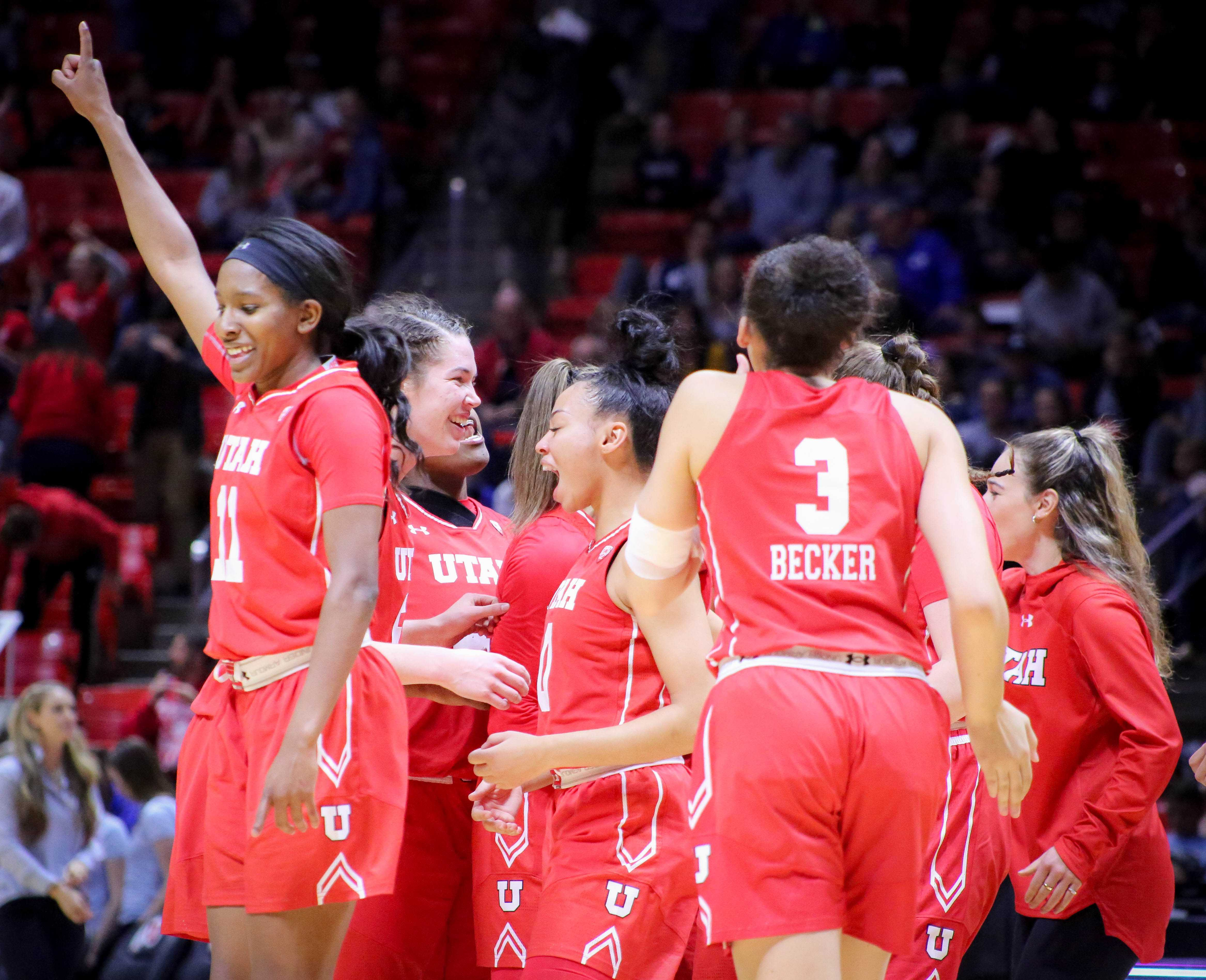 The University of Utah Lady Utes cheering because they defeated their rival Brigham Young University at the Huntsman Center in Salt Lake City, UT on Saturaday, Dec. 8, 2018 (Photo by Cassandra Palor | Daily Utah Chronicle)