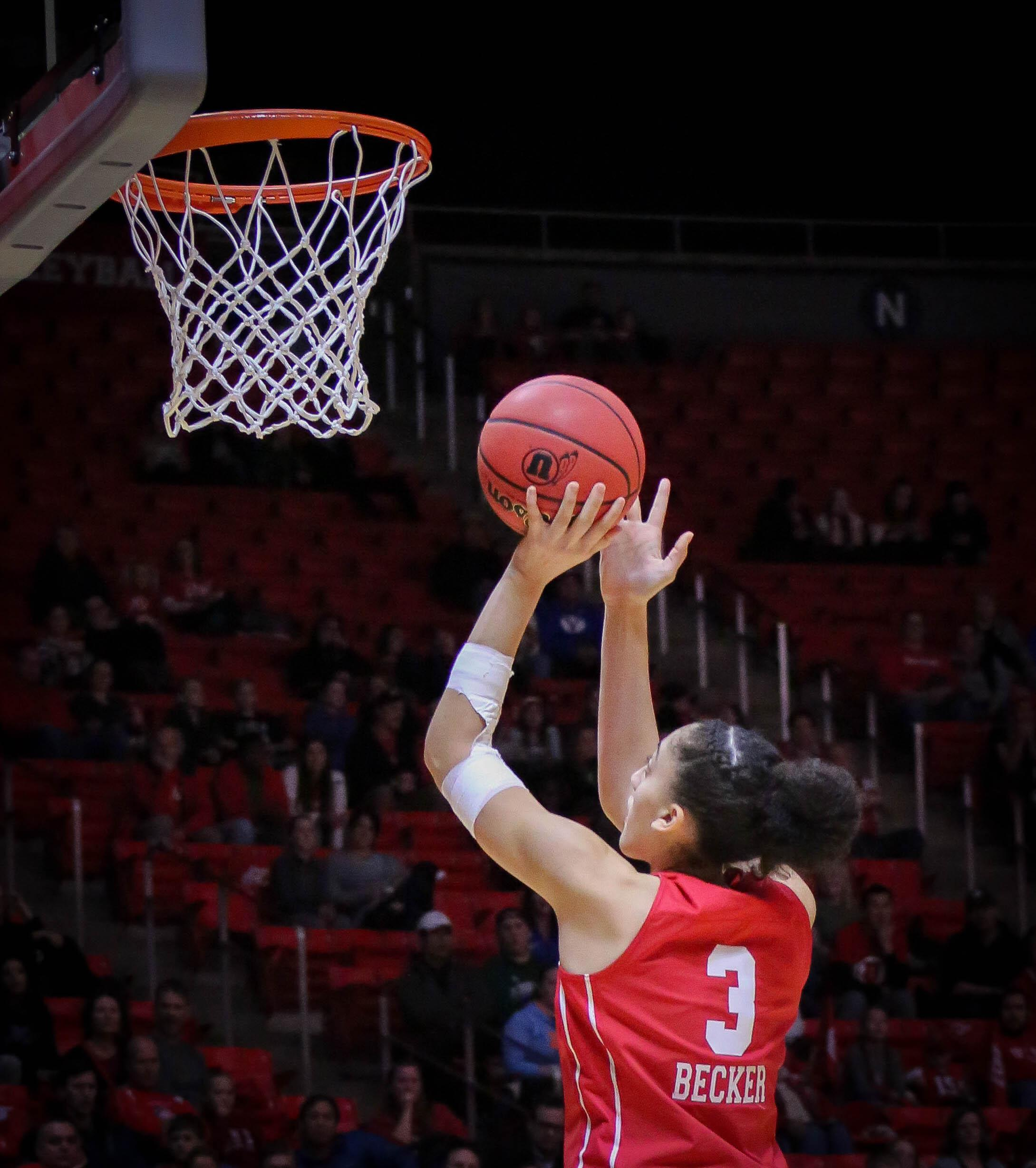 NIYAH BECKER (3) shoots and makes it as The University of Utah Lady Utes take on Brigham Young University at the Huntsman Center in Salt Lake City, UT on Saturaday, Dec. 8, 2018 (Photo by Cassandra Palor | Daily Utah Chronicle)