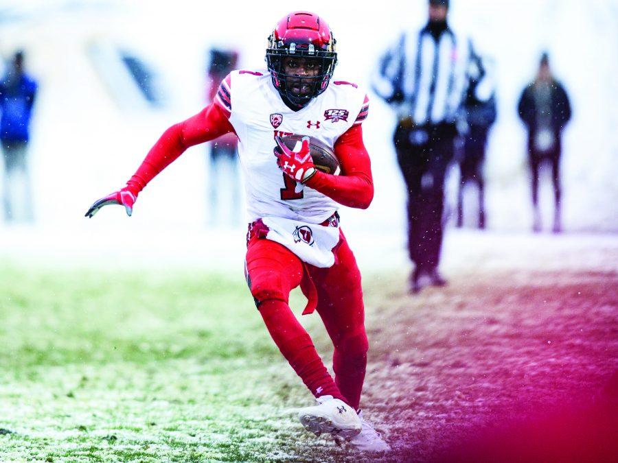 University of Utah sophomore defensive back Jaylon Johnson (1) gets yards on a interception against the University of Colorado in Boulder, CO Saturday, Nov. 17, 2018.   (Photo by: Justin Prather | The Utah Chronicle).