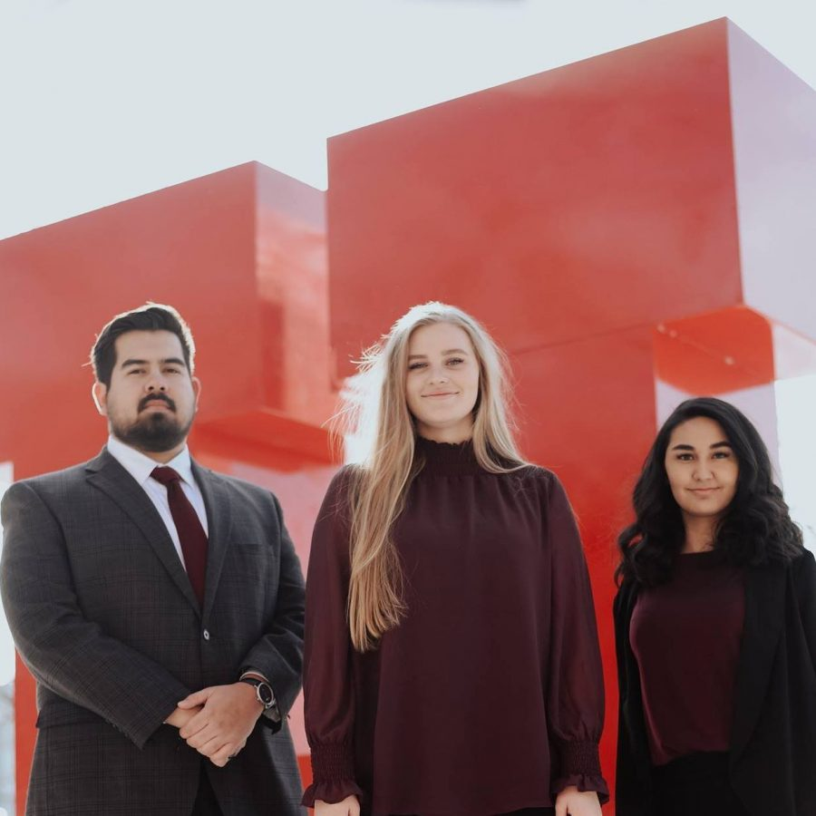 Candidate for VP of Student Relations Gabe Martinez, candidate for President AnnaMarie Barnes, and candidate for VP of University Relations Latifa Yaqoobi (Courtesy of Barnes Ticket)