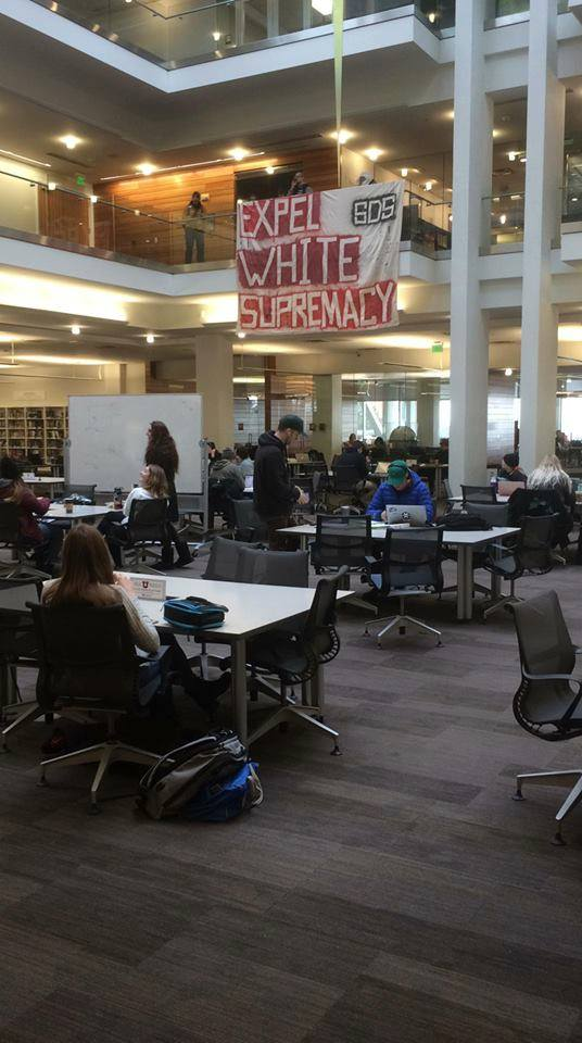 SDS holds action against white supremacy at the Marriott Library. (Courtesy of SDS).