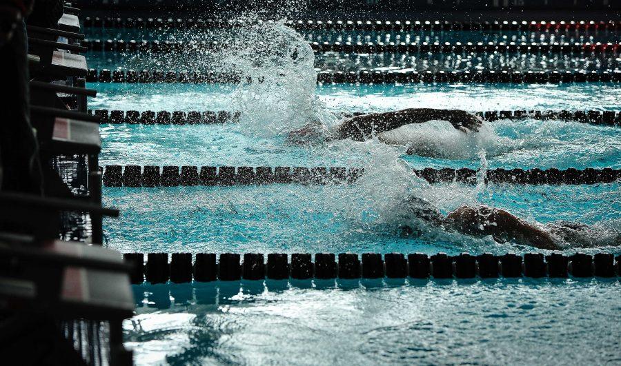 The University of Utah Swimming and Diving Team takes on the Brigham Young University at the Natatorium in Salt Lake City, UT on Saturday, Jan. 27, 2018  (Photo by Adam Fondren | Daily Utah Chronicle)