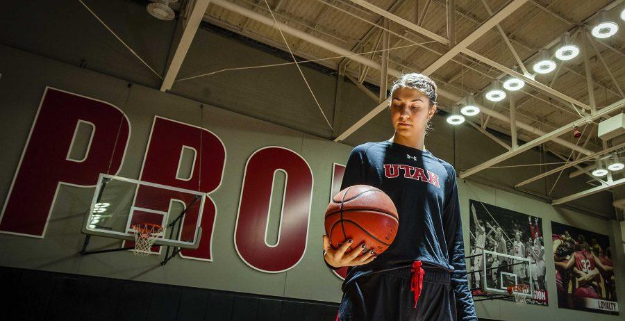 Emily Potter at the University of Utah Basketball Training Facility in Salt Lake City, UT on Monday, Feb. 12, 2018  (Photo by Adam Fondren | The Daily Utah Chronicle)