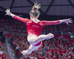 University of Utah women's gymnastics sophomore Missy Reinstadtler performs on the balance beam in a duel meet vs. Brigham Young University at the Jon M. Huntsman Center in Salt Lake City, Utah on Friday, Jan. 5, 2018.  (Photo by Kiffer Creveling | The Daily Utah Chronicle)
