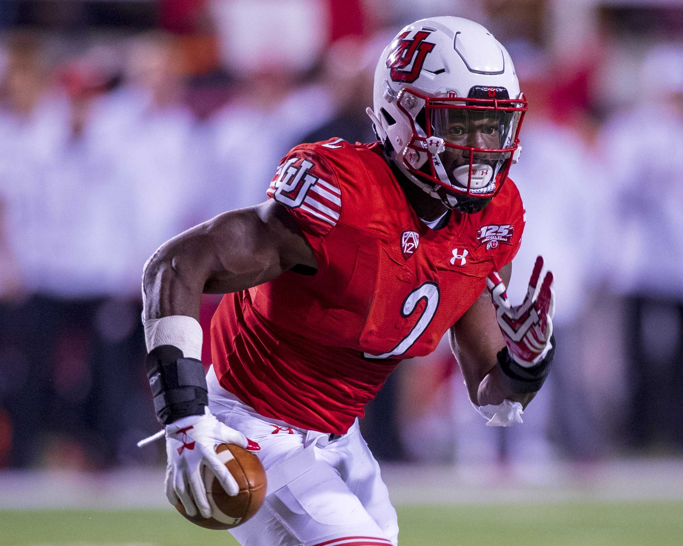 University of Utah junior running back Zack Moss (2) runs the ball downfield during an NCAA Football game vs. The University of Southern California at Rice Eccles Stadium in Salt Lake City, Utah on Saturday, Oct. 20, 2018. (Photo by Kiffer Creveling | The Daily Utah Chronicle)