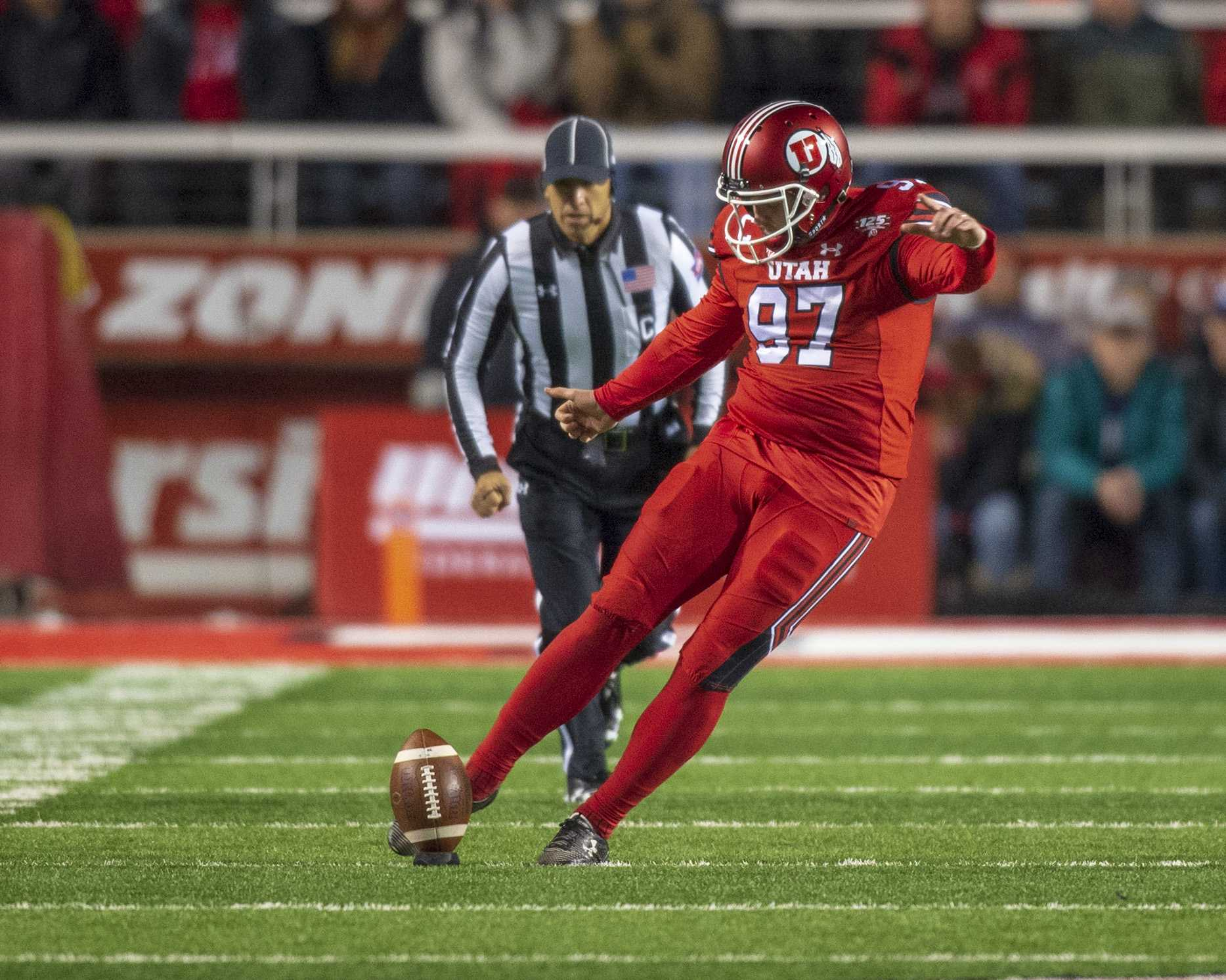 University of Utah senior kicker Matt Gay (97) kicks the ball during an NCAA Football game vs. The Brigham Young University Cougars at Rice Eccles Stadium in Salt Lake City, Utah on Saturday, Nov. 24, 2018. (Photo by Kiffer Creveling | The Daily Utah Chronicle)