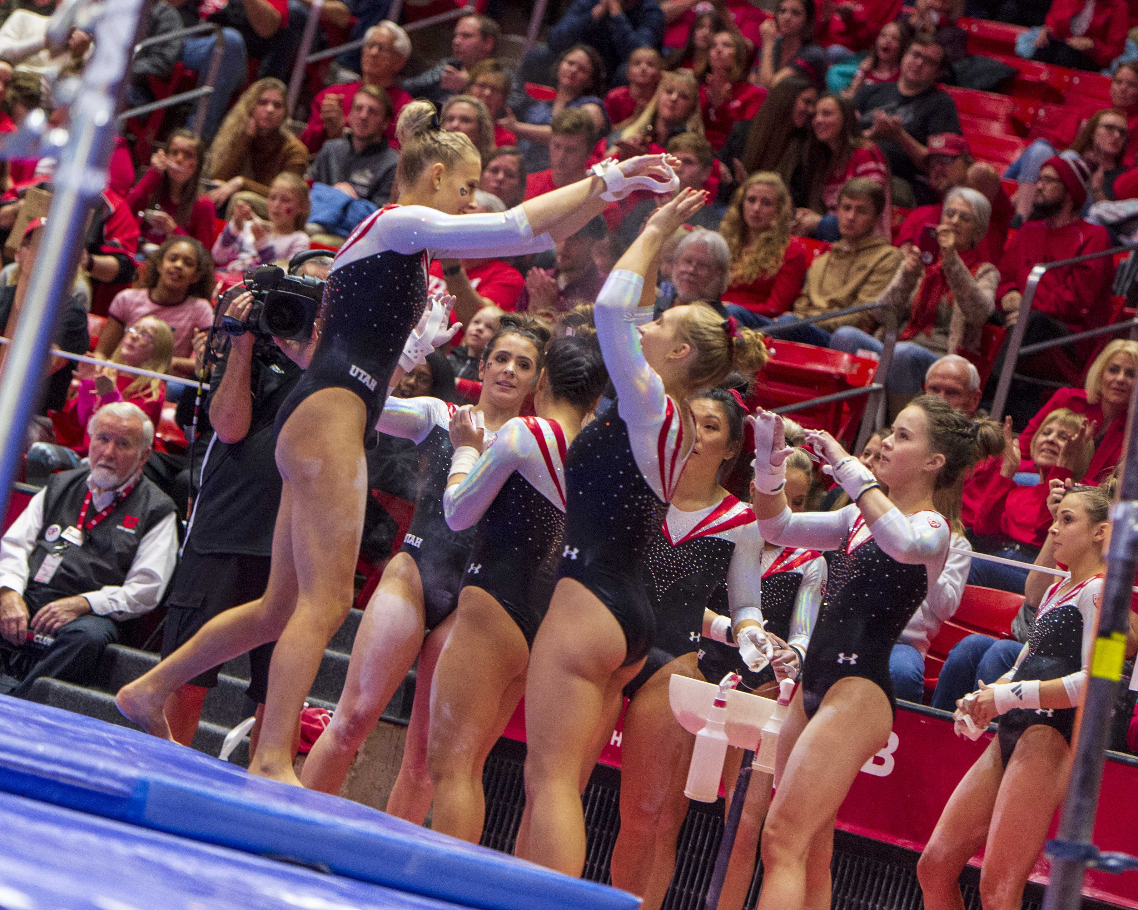 University of Utah women's gymnastics senior MaKenna Merrell-Giles performs on the uneven bars in the Red Rock preview at the Jon M. Huntsman Center in Salt Lake City, Utah on Friday, Dec. 7, 2018.  (Photo by Kiffer Creveling | The Daily Utah Chronicle)