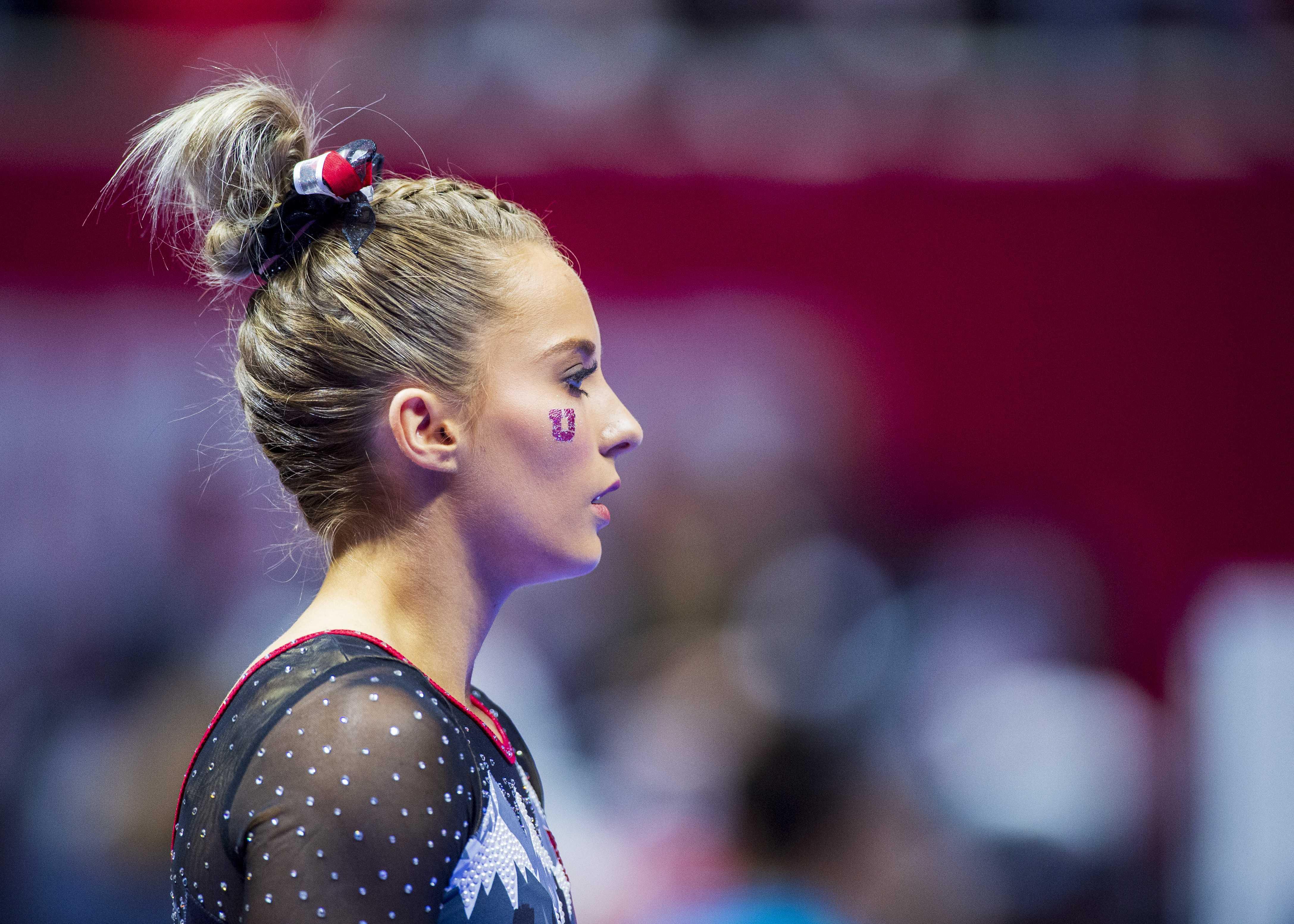 University of Utah women's gymnastics junior MyKayla Skinner performs on the balance beam in a dual meet vs. Penn State at the Jon M. Huntsman Center in Salt Lake City, Utah on Saturday, Jan. 5, 2019.  (Photo by Kiffer Creveling | The Daily Utah Chronicle)