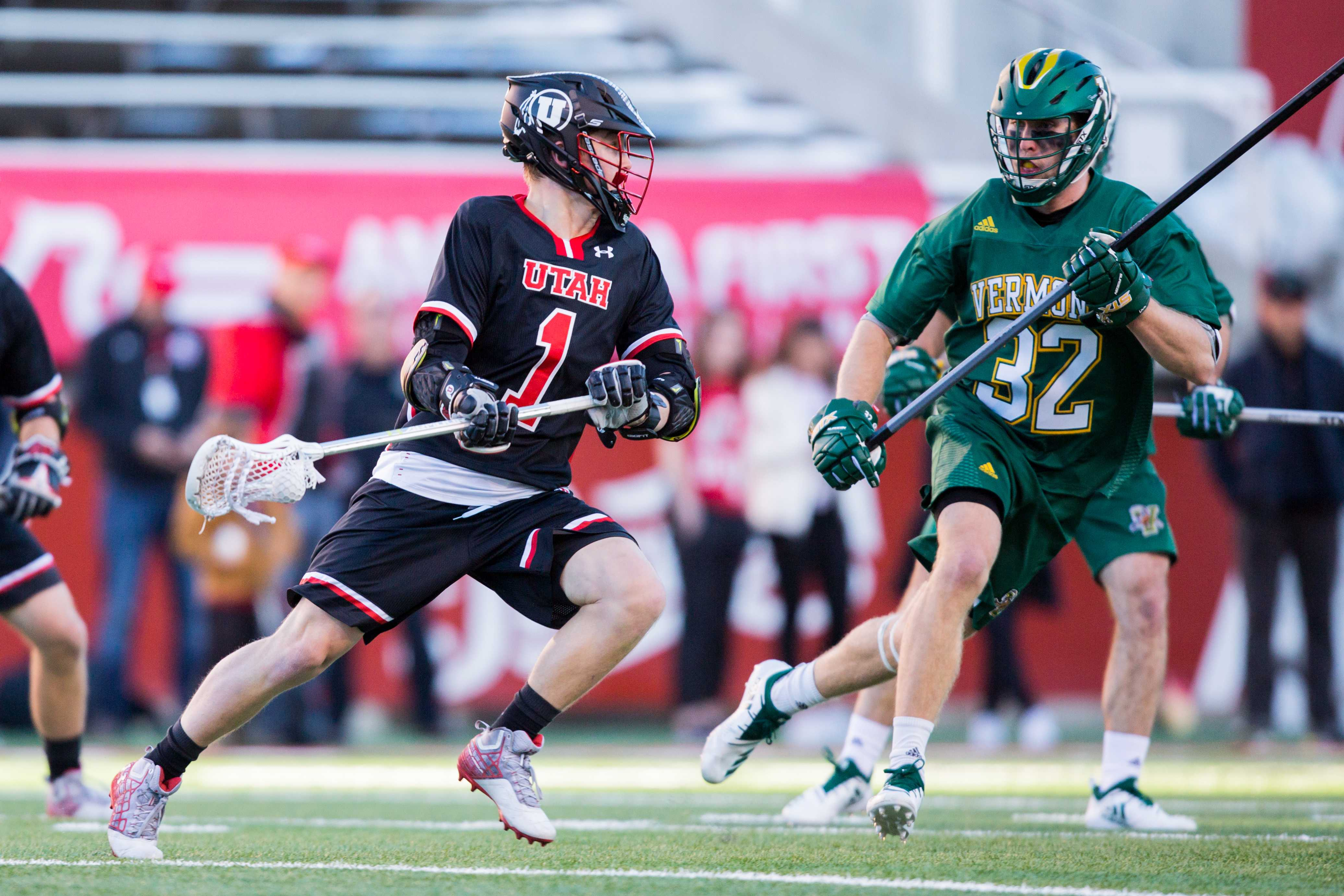 University of Utah sophomore attacker Josh Stout (1) looked for an open teammate to pass to in an NCAA Men's Lacrosse game vs. Vermont at Rice-Eccles Stadium in Salt Lake City, UT on Friday February 01, 2019.  (Photo by Curtis Lin | Daily Utah Chronicle)