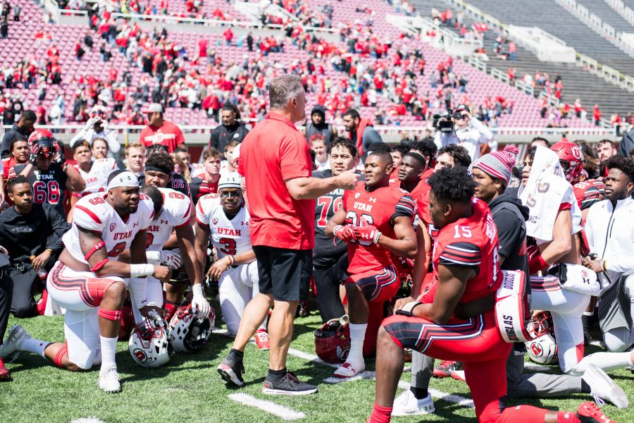 University+of+Utah+head+coach+Kyle+Whittingham+talks+to+players+during+the+Utah+Red+and+White+Game+at+Rice+Eccles+Stadium+in+Salt+Lake+City%2C+UT+on+Saturday+April+14%2C+2018.%0A%0A%28Photo+by+Curtis+Lin%2F+Daily+Utah+Chronicle%29